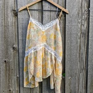Free People Intimately lace floral yellow cami M